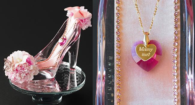 ガラスの靴桜ピンクのクリスタルハート