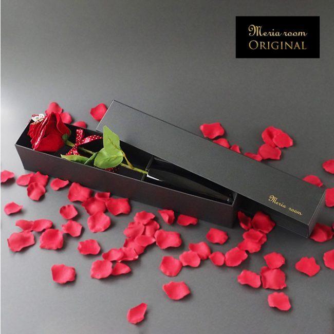 メッセージフラワー1本の赤バラ