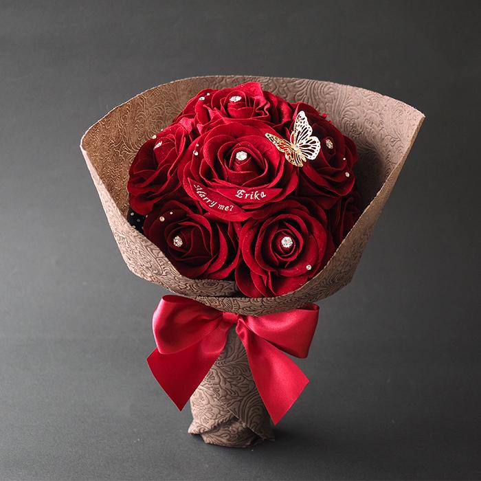 メッセージフラワー12本の赤バラ花束