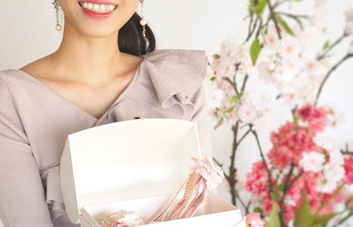 春限定メリアルームのシンデレラのガラスの靴は桜ピンク