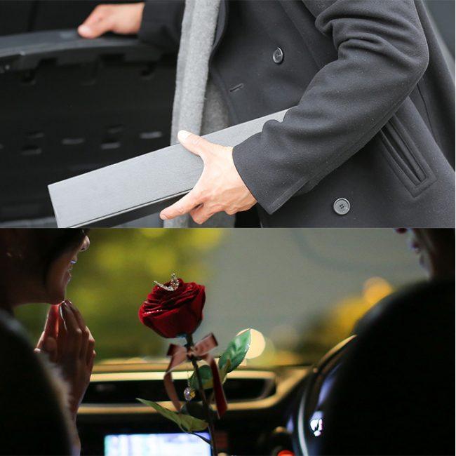 車の中で1本バラでプロポーズ
